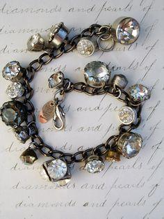 Paula Montgomery Vintage Rhinestone Button Charm Bracelet repurposed button bracelet