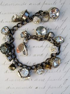 Paula Montgomery Vintage Rhinestone Button Charm Bracelet No. 4 - vintage rhinestone button bracelet, repurposed button bracelet, one of a kind repurposed bracelet