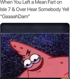 """When You Left a Mean Fart on Isle 7 & Over Hear Somebody Yell """"GaaaahDam"""" - iFunny :) Really Funny Memes, Stupid Funny Memes, Funny Relatable Memes, The Funny, Hilarious, Funny Stuff, Funny Quotes, Funny Humor, Patrick Meme"""
