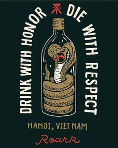 Drink with honor, die with respect. Brutal ad illustration.