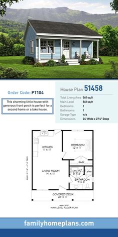 Tiny House Plan 51458 Total Living Area 561 SQ FT 1 bedroom and 1 bathroom This charming little house with generous front porch is perfect for a second home or a lake ho. Family House Plans, Tiny House Plans, 1 Bedroom House Plans, Tiny Home Floor Plans, Tiny Cabin Plans, Little House Plans, Small House Plans Under 1000 Sq Ft, Home Plans, Two Bedroom Tiny House