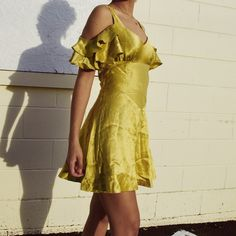 291dc9592021 Vintage 60s-70s chartreuse satin off-shoulder ruffle dress Ruffle Dress