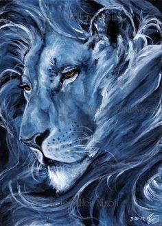 Lion ~ Art by Arden Ellen Nixon Lion Wallpaper, Blue Lion, Lion Of Judah, Lion Art, Animal Paintings, Big Cats, Traditional Art, Cat Art, Painting Inspiration