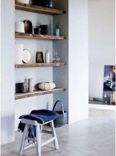 live edge wood shelves for Aim's room Timber Shelves, Built In Shelves, Wooden Shelves, Built Ins, Recessed Shelves, Floating Shelves, Rustic Shelves, Wall Shelves, Bedroom Shelves