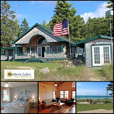 The Compass Rose by Northern Lakes Property Management One is a beautiful beach cottage near Mackinaw City, MI! 3 bedrooms, 3 baths and just steps from sunsets on the beach!  #mackinawcity #travelmi #bookdirect #itscabintime