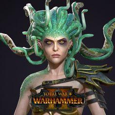 Bloodwrack Medusa made for the Shadow & Blade DLC for Total War: Warhammer Warhammer Dark Elves, Warhammer 40k, 3d Sketch, Sketches, Total War, Dark Elf, Medusa, Fisher, Blade