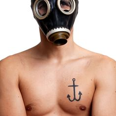 Portrait With Gas Mask Word Tattoos, Meaningful Tattoos, Portrait, Music, Musica, Musik, Men Portrait, Muziek, Music Activities