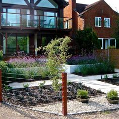 Riverside Gardens Thameside - this contemporary home with river frontage, wanted a garden to match the riverside setting. Riverside Garden, Garden Design, Pergola, Outdoor Structures, Contemporary, Mansions, House Styles, Garden Ideas, Gardens