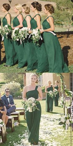 One shoulder long bridesmaid dresses for fall wedding, Green chiffon bridesmaid dresses, cheap long high quality Prom Party dresses