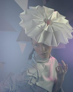 Paper Couture - origami fashion, headpiece with 3D construction - wearable art; sculptural paper hat; alternative materials