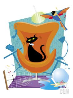 A Black Cat Sits in a Chair as a Scared Parrot Flies Around the Room Making a Mess Art Print at Art.com