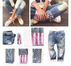 Add an additional cuff to the end of any jeans ! I love how this turns out on boyfriend jeans 4th Of July Outfits, Outfits For Teens, Summer Outfits, Cute Outfits, Shorts Diy, Diy Jeans, Diy Pantalones Cortos, Jean Diy, Do It Yourself Fashion