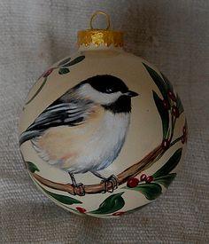 Hand Painted Christmas ornaments Chickadee glass ornaments. $26.00, via Etsy.