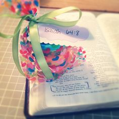 here is the goodie bag for nylin's special week! love that i get to be a part of it :)  {play-doh in a bag with the isaiah 64:8 written on it .. we are the clay, He is the Potter}