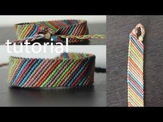 pulseras de hilos facil ancha - YouTube