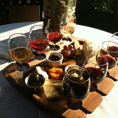 Wine flights on a serving tray are the ideal party starter.  #RiojanoPairs #WinePairings #Sampler