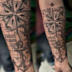 40 Cool Hipster Tattoo Ideas You'll Want to Steal – tatoo Map Tattoos, Anchor Tattoos, Forearm Tattoos, Body Art Tattoos, Sleeve Tattoos, Tatoos, Tattoo Arm, Tattoo Ship, Rope Tattoo