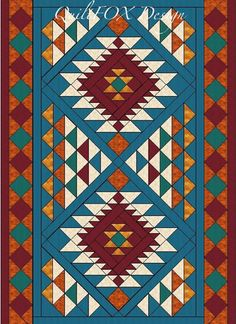 Southwest Style Throw 78 by QuiltPatterns on Etsy Southwestern Quilts, Southwest Style, Motifs Aztèques, Native American Patterns, Native American Design, Native American Regalia, Navajo Pattern, Indian Quilt, American Quilt