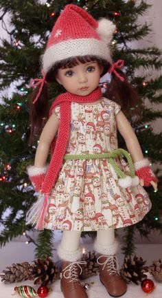 """Snowman Luv"", a hand made Christmas ensemble made for Dianna Effner's Little Darling dolls, cindyricedesigns.com"