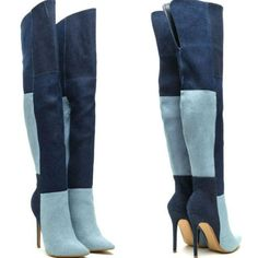 Stunning high heel thigh high boots, featuring a colorblock patchwork design throughout, slit detail, and stiletto heel. Moreover, heel height: Thigh High Boots, High Heel Boots, Heeled Boots, Bootie Boots, Over The Knee Boots, High Shoes, Ankle Booties, Botas Sexy, Long Boots