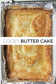 Gooey Butter Cake- Gooey Butter Cake Classic Gooey Butter Cake Recipe // It& a classic for a reason! Turn yellow cake mix into something magical. This cake is so buttery and moist. You& never be able to taste that you started with a boxed cake mix! Food Cakes, Cupcake Cakes, Köstliche Desserts, Delicious Desserts, Dessert Recipes, Boxed Cake Recipes, Yellow Cake Recipes, Yellow Cake Recipe Easy, Cream Cheese Desserts