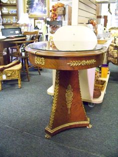 SOLD.Decorative round end table. www.chconsignment.com