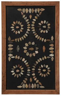 Framed Collection of Native American Arrowheads collected in Tennessee