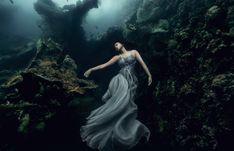 Magical underwater portraits of elegant women exploring a shipwreck by Benjamin Von Wong