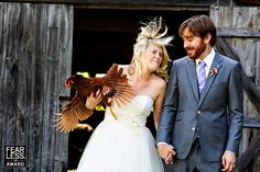 East Coast Family Farm Wedding. Bride and Groom with chicken