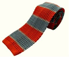 Nick Bronson - Silk Knitted - GS5 Orange/Grey http://heroesofrichmond.co.uk/brands/accessories/nick-bronson-tie/