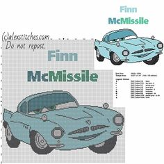Finn McMissile Disney Cars 2 cartoon character free cross stitch pattern download big size