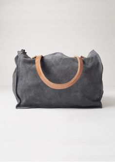 Tote Bag B.C. Grey + camel leather handles