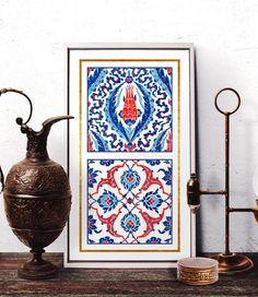 Moroccan Tile Design Wall Art Turkish Floral Rumi by HermesArts