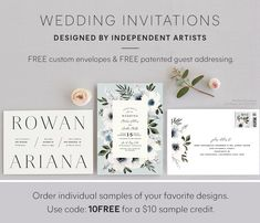Unique free wedding invitation samples from independent artists. Shop wedding samples with luxe paper and printing. Free Wedding Invitation Samples, Wedding Invitation Etiquette, Formal Wedding Invitations, Wedding Invitation Wording, Invites, Best Wedding Websites, Custom Envelopes, Bridesmaid Cards, 50th Wedding Anniversary