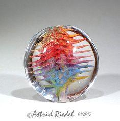 Spiky Urchin bead Lampwork lentil shape focal by AstridRiedel