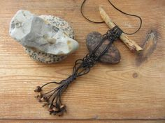 Macrame Driftwood and Beach Stone Necklace by GarageCoutureClothes