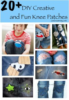 20+ DIY Creative and Fun Knee Patches. Creative solution for pants that have holes in the knees.
