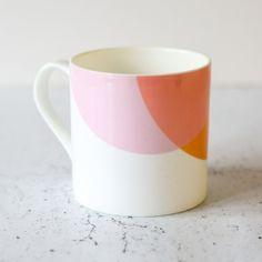 Orange & Pink Bone China Mug (£15) ❤ liked on Polyvore featuring home, kitchen & dining, drinkware, orange mugs, pink mug and bone china