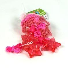 Regalitos idóneos para una fiesta estrellas - un collar con un frasco con forma de estrella rosa, con pompas! De www.fiestafacil.com, $2.95 el paquete de 4 / Ideal party favours for a star party - A pink necklace with a star-shaped bubble bottle! From www.fiestafacil.com