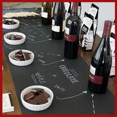 Wine and food pairings! Easy combination of chocolate and red wine. Great marketing piece for someone wanting to host a food and wine pairing event, but does not want to prepare a full course meal. Wine And Cheese Party, Wine Tasting Party, Wine Cheese, Wine Parties, Wine Tasting Events, Vino Y Chocolate, Chocolate Party, Party Giveaways, Wine Night