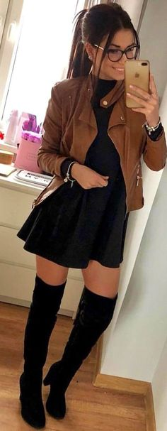 woman wearing brown blazer, black skater dress, and pair of black thigh-high boots. Pic by : woman wearing brown blazer, black skater dress, and pair of black thigh-high boots. Mode Outfits, Dress Outfits, Casual Outfits, Fashion Outfits, Fashion Ideas, Dress Fashion, Fashion Boots, Casual Jeans, High Boot Outfits
