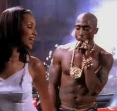 """Tupac and Lisa Raye in the """"Toss it Up"""" music video. Rap Style, 2pac Makaveli, Tupac Art, Tupac Music, Tupac Wallpaper, Tupac Pictures, Arte Hip Hop, Manicure Y Pedicure, Tupac Shakur"""