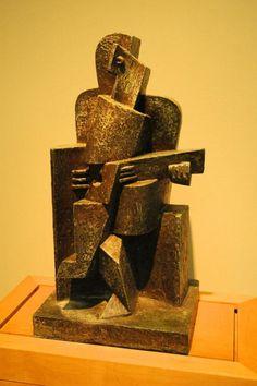 Seated man with a guitar - Jacques Lipchitz - Cubist Sculpture, Bronze Sculpture, Contemporary Sculpture, Contemporary Art, 3d Art, Sculpture Lessons, Cubism Art, Modern Artists, Art For Art Sake