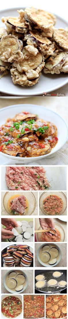 two flavor stuffed eggplant Chinese Meals, Chinese Recipes, Asian Recipes, Gourmet Recipes, Beef Recipes, Cooking Recipes, Vegetable Dishes, Vegetable Recipes