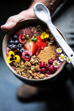 Peanut Butter Acai Bowl - Healthy, fresh and simple... oh and pretty too!!! What more could you want in your breakfast or snack? From halfbakedharvest.com