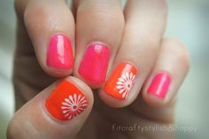 Neon orange and pink nails for summer
