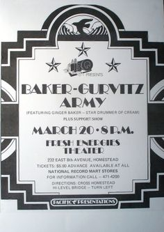 Baker-Gurvitz Army Fresh Energies Theater Live Rare Concert Sheet Poster Print