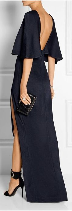 Cushnie et Ochs - Open-back stretch-satin jersey maxi dress Elegant Dresses, Pretty Dresses, Beautiful Dresses, Long Dress Formal Elegant, Evening Dresses, Prom Dresses, Formal Dresses, Backless Maxi Dresses, Fashion Mode
