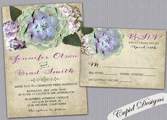 Succulent wedding invitations. Hydrangeas. Rustic. by CupidDesigns, $3.90