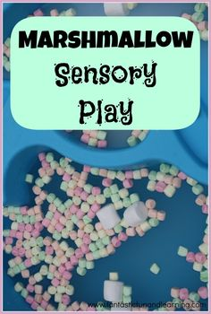 Marshmallow Sensory Play (Fantastic Fun and Learning). now, how do I stop them from eating the marshmallows? Sensory Tubs, Sensory Boxes, Sensory Activities, Infant Activities, Activities For Kids, Sensory Play Autism, Marshmallow Activities, Kindergarten Sensory, Dementia Activities